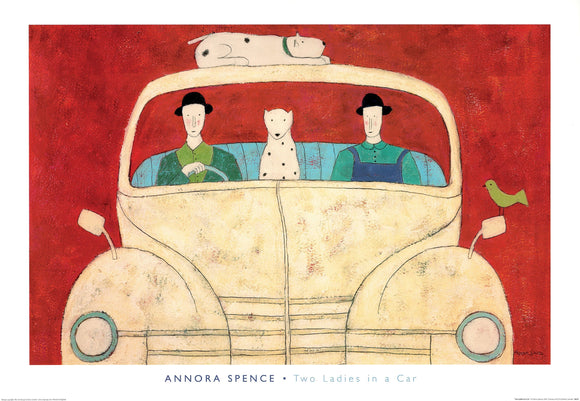 Two Ladies in a Car by Annora Spence - 28 X 40 Inches (Art Print)