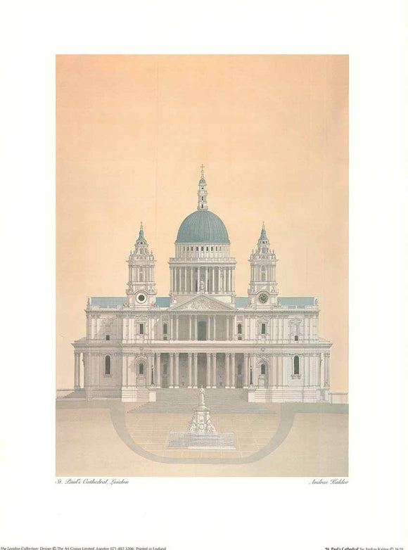 St. Paul's Cathedral by Andras Kaldor - 12 X 16 Inches (Art Print)