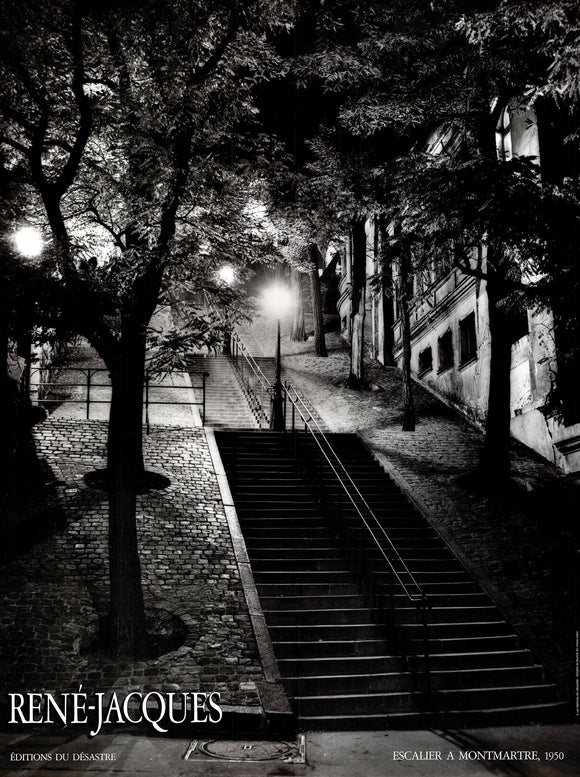 Escalier a Montmartre, 1950 by Rene-Jacques - 24 X 32 Inches (Art Print)