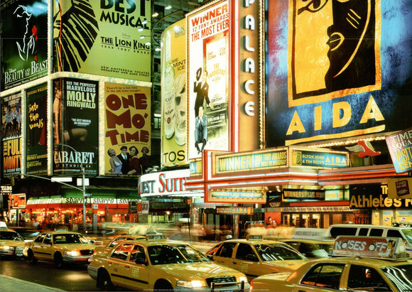Theaters Signs and Traffic, Times Square, New York, USA by Yoshio Tomi - 20 X 28 Inches - Fine Art Poster.