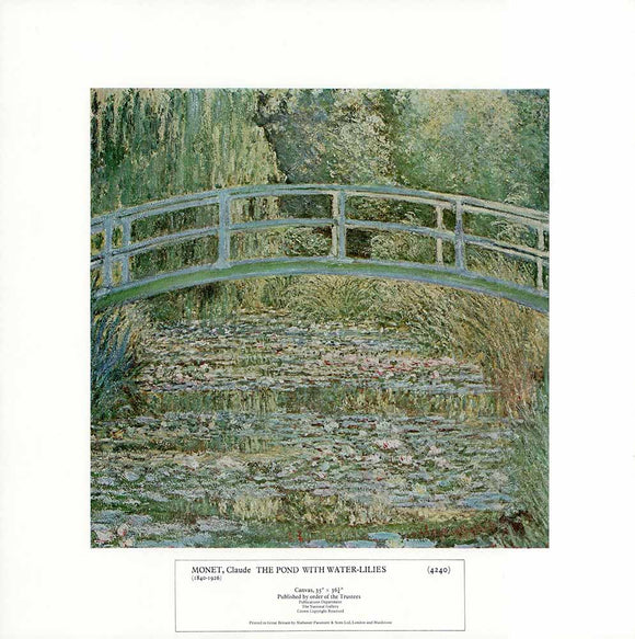 The Pond with Water-Lilies by Claude Monet - 14 X 14 Inches - Fine Art Poster.