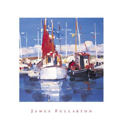 The Red Sail by James Fullarton - 16 X 16 inches - Fine Art Poster.