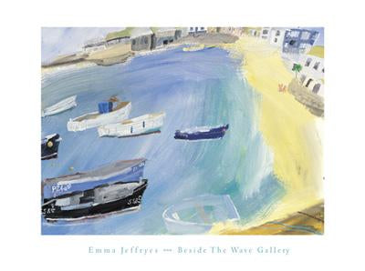 Harbour with Deckchairs by Emma Jeffryes - 12 X 16