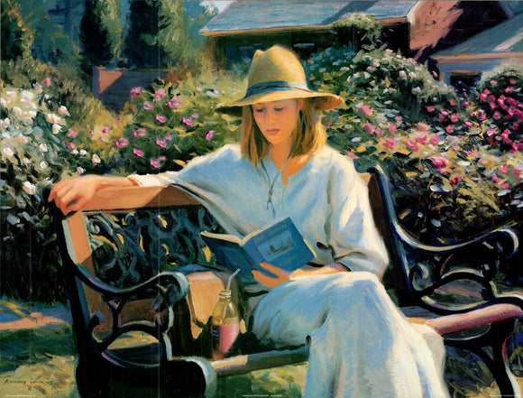 Anthony Watkins - Woman on bench - 24 X 32 Inches - Fine Art Poster.