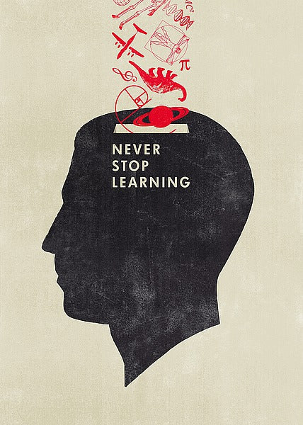 Never Stop Learning by Hannes Beer - 20 X 28 Inches - Fine Art Poster.