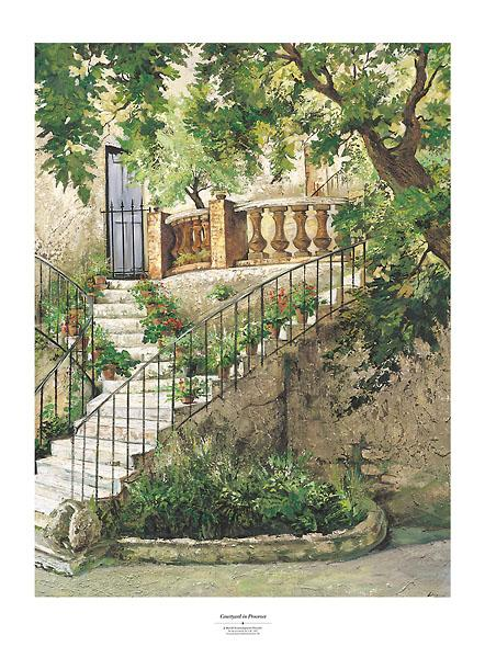 Courtyard in Provence by Roger Duvall - 28 X 38