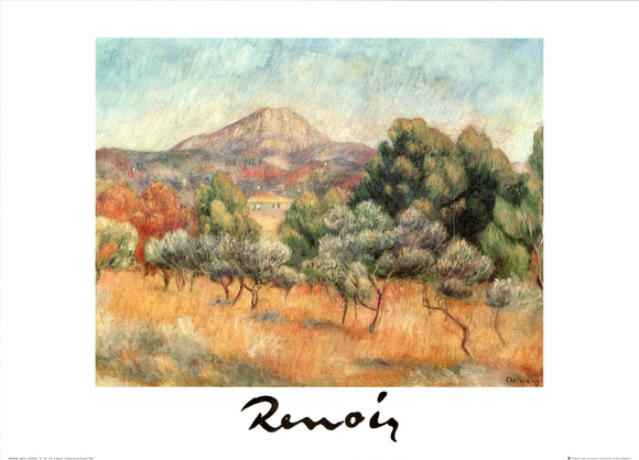 The Mont Saint-Victoire, 1889 by Renoir - 20 X 28 Inches - Fine Art Poster.
