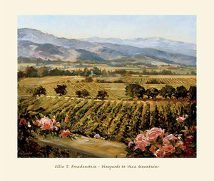 "Vineyards to Vaca Mountains by Ellie Freudenstein - 27 X 32"" - Fine Art Poster."