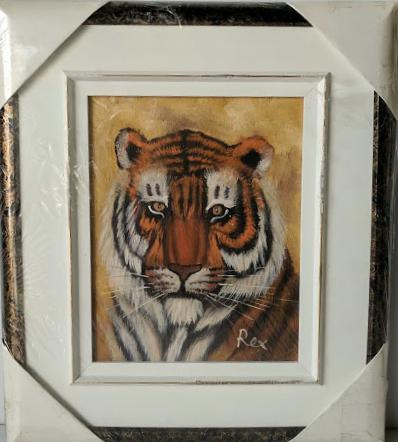 Tiger - (Framed Oil Painting on Masonite Ready to Hang)