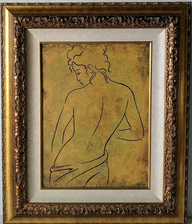 Woman Posing from the Back I - (Framed Canvas Ready to Hang)