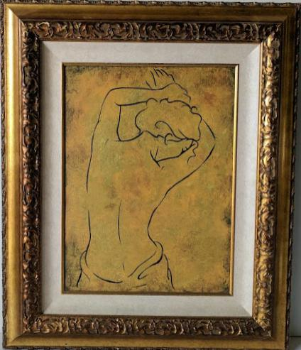 Woman Posing from the Back II - (Framed Canvas Ready to Hang)