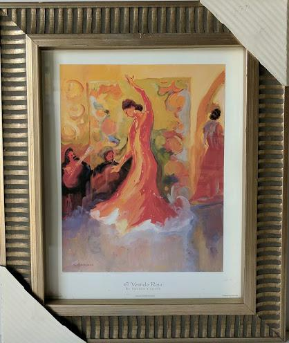 El Vestido Rojo  - (Framed Art Print with Glass Ready to Hang)