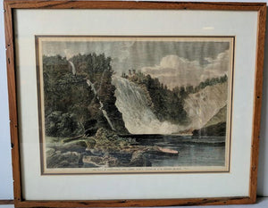 The Falls of Montmorency, near Quebec  - (Framed Art Print with Matte and Glass Ready to Hang)