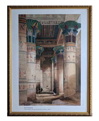 View Under the Grand Portico. Philae, 1838 by David Roberts (Framed Giclee on Masonite Ready to Hang)  - 25 X 33