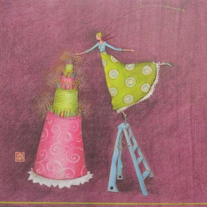 Lighting the Cake by Gaelle Boissonnard - 3 X 3 Inches (Greeting Card)