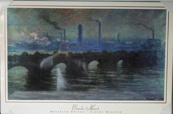 Waterloo Bridge - Cloudy Weather (Laminate Art Print)