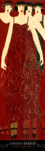 "Women in Crimson Gowns by Cynthia Markert - 12 X 39"" - Fine Art Poster."
