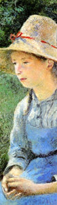 "Young Peasant Girl with a Straw Hat, 1881 by Pissarro- 3 X 9"" (Bookmark)"