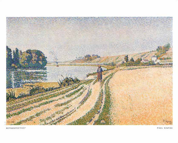 Herblay, The Bank, 1889 by Paul Signac - 10 X 12 Inches - Fine Art Poster.