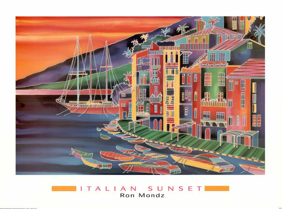 Italian Sunset by Ron Mondz - 24 X 32 Inches - Fine Art Poster.