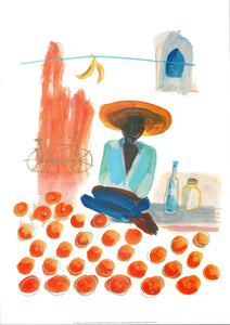 "The Orange Seller by Nelly Dimitranova - 20 X 28"" - Fine Art Poster."