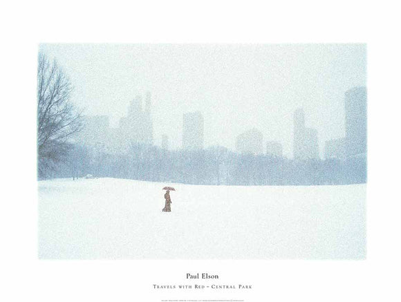 Travels with Red - Central Park by Paul Elson - 24 X 32 Inches - Fine Art Poster.
