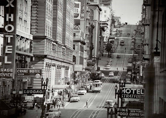 View of Powell Street in San Francisco, California, 1953 - 20 X 28 Inches - Fine Art Poster.