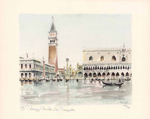 Il Palazzo Ducale e la Piazetta (Handpainted Water Color Titled, Numbered & Signed) 39/108