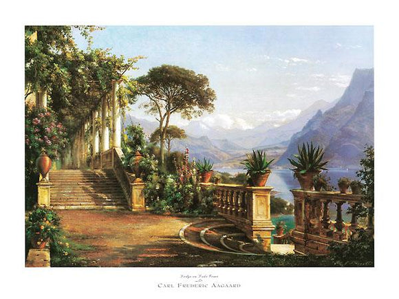 Lodge on Lake Como by Carl Frederic Aagaard - 24 X 32