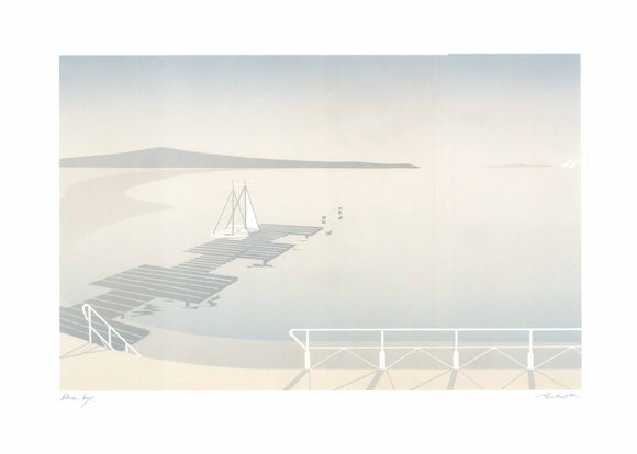 Blue Bay (Offset Lithograph Titled & Signed)
