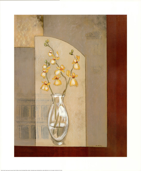Glass vase with orchids