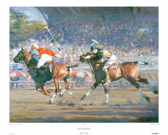 A Powerful Backhand by William R. Petty - 26 X 32 Inches - Fine Art Poster.