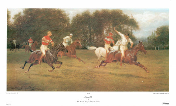 Playing Polo by John Alexander Harington Bird - 22 X 35 Inches - Fine Art Poster.