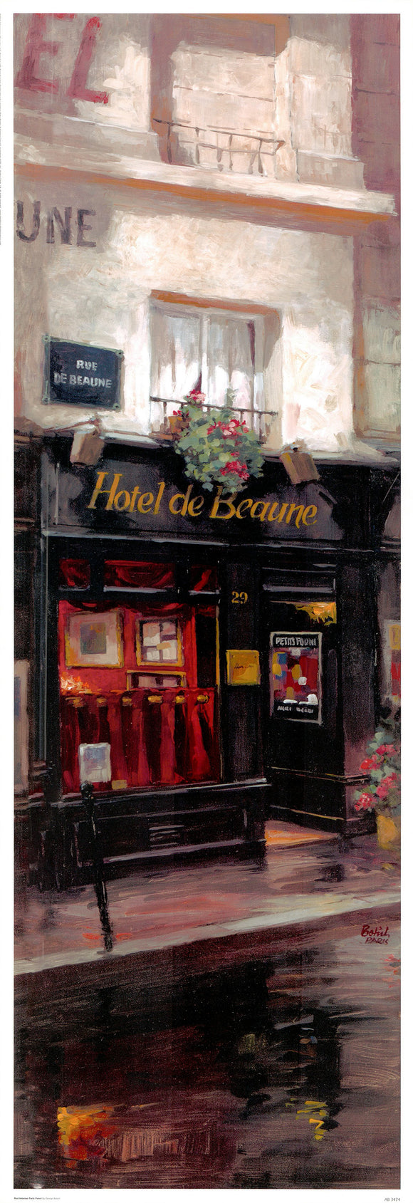 Red Interior Paris Panel by George Botich - 13 X 37 Inches (Poster)