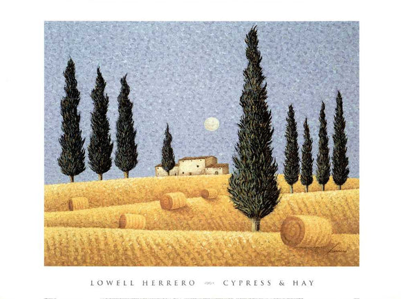 Cypress & Hay by Lowell Herrero - 27 X 36