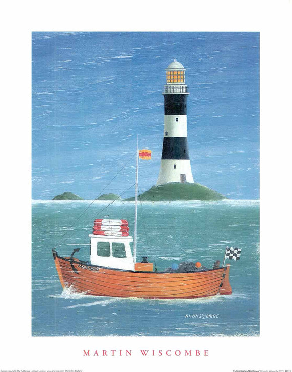 Fishing Boat and Lighthouse by Martin Wiscombe - 16 X 20