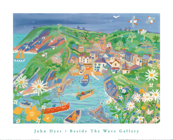 Moon Daisies and Fishermen, Port Loe by John Dyer - 16 X 20