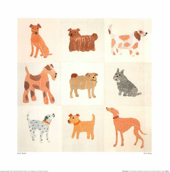 Nine Dogs by Sarah Battle - 16 X 16
