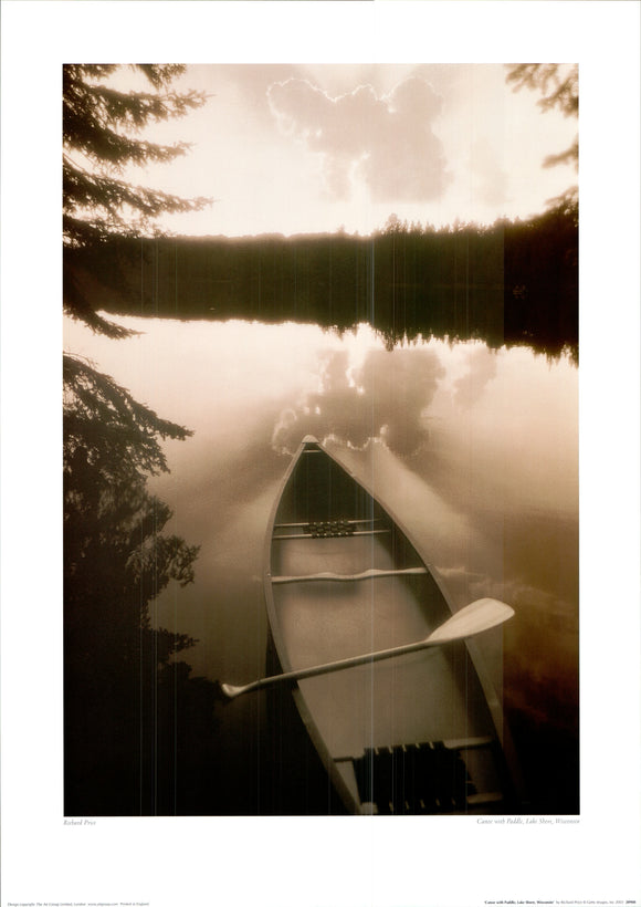 Canoe with Paddle, Lakeshore, Wisconsin by Richard Price - 20 X 28