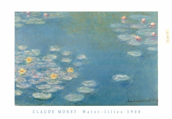 Claude Monet - Waterlilies, 1908 - 28 X 40 Inches - Fine Art Poster.