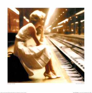 "Girl at the Station by George Thomas - 16 X 16"" - Fine Art Poster."