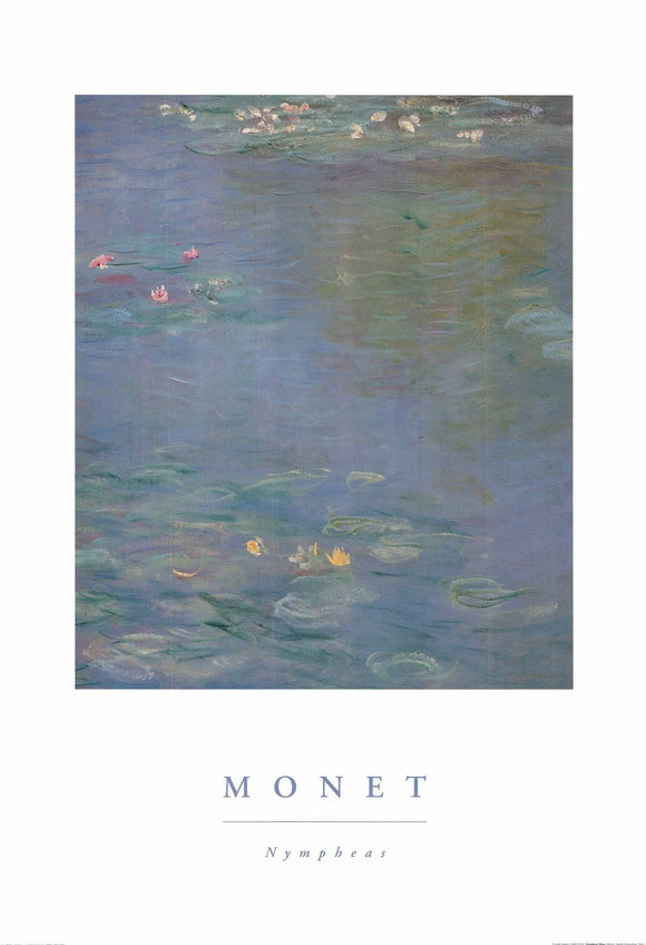 Nympheas Bleus by Claude Monet - 28 X 40 Inches - Fine Art Poster.