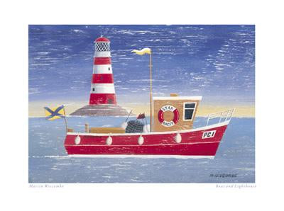 Boat and Lighthouse by Martin Wiscombe - 12 X 16