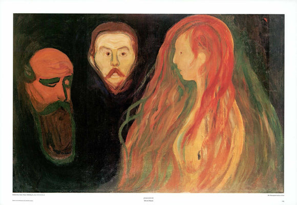 Jealousy by Edvard Munch - 23 X 33 Inches - Fine Art Poster.