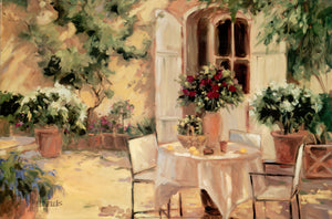 "Country courtyard by Allayn Stevens - 24 X 36"" - Fine Art Poster."