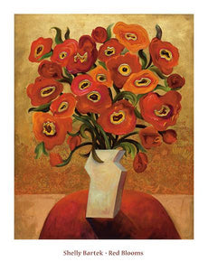 "Red Blooms by Shelly Bartek - 26 X 34"" - Fine Art Poster."