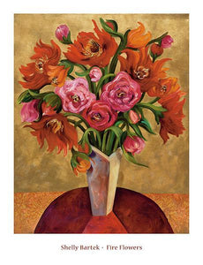 "Fire Flowers by Shelly Bartek - 26 X 34"" - Fine Art Poster."