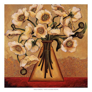 "White Autumn Poppies by Shelly Bartek - 27 X 27"" - Fine Art Poster."