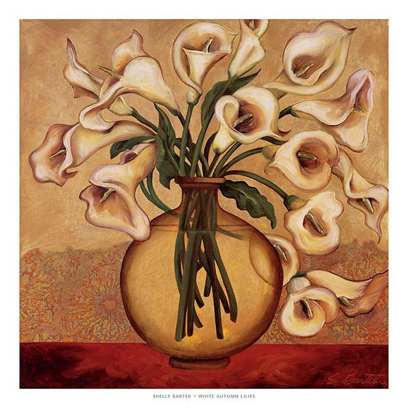 White Autumn Lilies by Shelly Bartek - 27 X 27