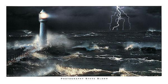 Lightning at the Lighthouse by Steve Bloom - 20 X 40